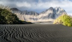 Wind Formed Patterns On The Black Sand Beach Dunes At Vestrahorn