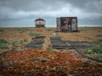 Derelict remains on Dungeness beach